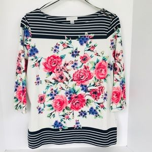 Charter Club Floral Navy Striped Blouse